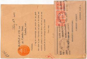 LL1 1931 GB REVENUES 6d Stamped Paper Postal Use Biarritz France Sower{samwells}