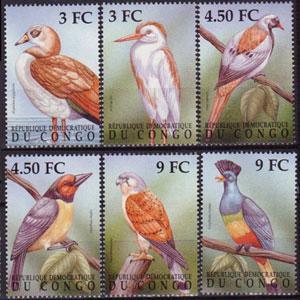ZAIRE 2000 - Scott# 1522-7 Birds Set of 6 NH
