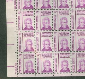 US #1286 10¢ Andrew Jackson, Complete sheet of 100 NH
