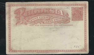 RHODESIA  COVER (P0210B)  ARMS 1D PSC    UNUSED