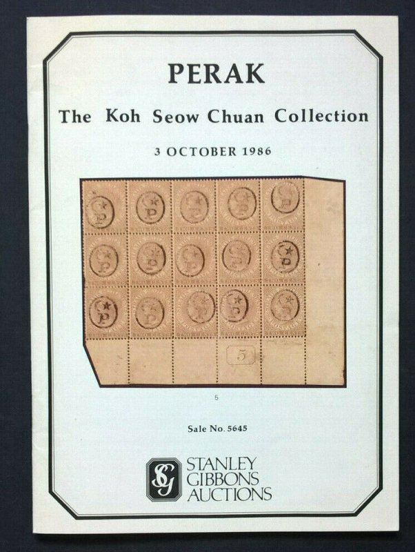 Auction Catalogue PERAK KOH SEOW CHUAN with Prices Realised Straits Malaya SG