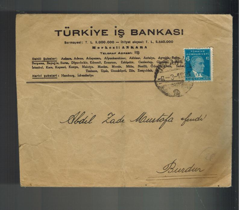 1934 Ankara Turkey Cover to Burdur Turkiye is Bankasi