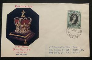 1953 Pitcairn Island QE 2 Coronation First Day Cover Queen Elizabeth To NY USA