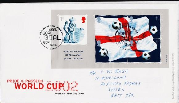 Great Britain. FDC.2002.Football World Cup Miniature Sheet. Fine Used