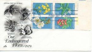 US FDC #1786a Endangered Flora Plate Block, ArtCraft (3940)