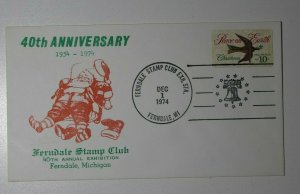 Ferndale Stamp Club Exh Sta Ferndale MI 1974 Santa Claus Philatelic Cachet Cover