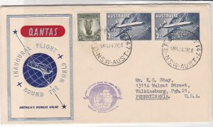 Australia 1958 Quantas Airline Illust. 1st Round World Stamps Cover Ref 35056