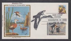 US Sc RW57 Colorano FDC, 1990 $12.50 Duck Stamp, Duck Stamp Station Cancel