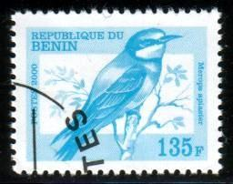 Bird, European Bee-eater, Merops apiaster, Benin stamp used