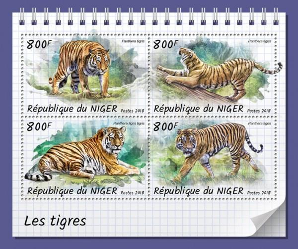 NIGER - 2018 - Tigers - Perf 4v Sheet - MNH