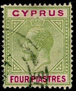CYPRUS SG79, 4pi olive-green & purple, FINE USED.