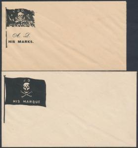 #CF2-5 (4) DIFF CARICATURES - FLAGS UNION CIVIL WAR PATRIOTIC COVERS BS3771
