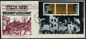 Israel 841 on Holocaust Cachet FDC - WWII Ghettto Uprising Leaders, Architecture