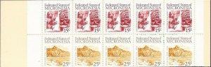 Micronesia - 1988 Waterfall & Mountain Peak - 10 Stamp Booklet - Scott #36b