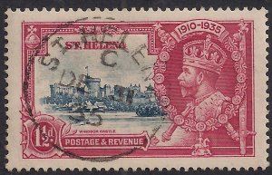St Helena 1935 KGV 1 1/2d Silver Jubilee used Pmk 31/12/35 SG 124 ( C1257 )