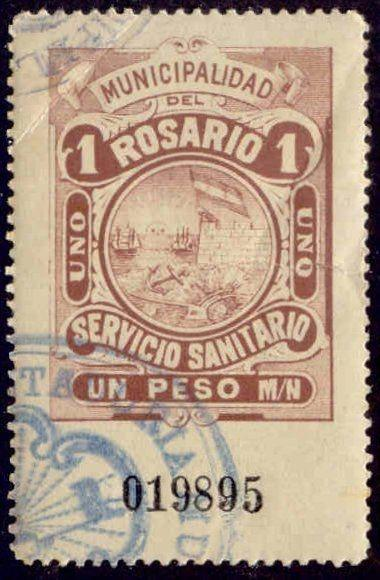 Rosario Argentina 1905 1P Hooker Tax Stamp remainder w/ control# & cancel