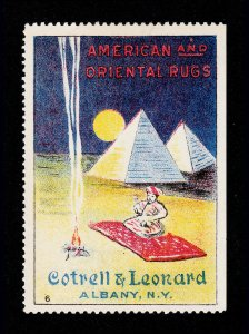 POSTER STAMP AMERICAN AND ORIENTAL RUGS COTRELL & LEONARD ALBANY NY 1915 MNH-OG