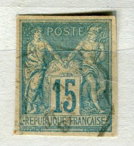 FRENCH COLONIES; Classic 1877-78 Imperf P & C type fine used 15c. value