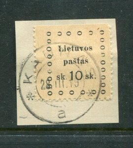 x11 - LITHUANIA 1919 Kaunas MUNICIPAL Revenue Stamp 10sk. On Piece