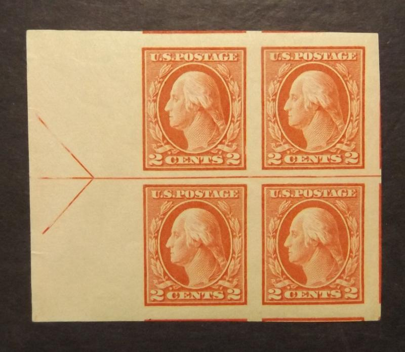 409 imperf. arrow block of 4, Superb Centering, MNH (7366)