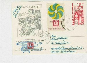 Czechoslovakia 1968 Prague World Stamp Ex Helicopter Slogan Stamp Card ref 22818