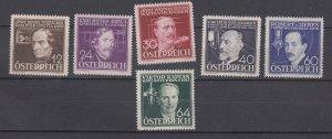 J29498, 1936 austria set mh #b146-51 inventors