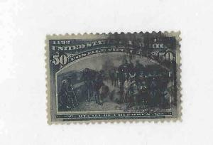 1893 #240 50c Columbian Stamp Used Cat $200. Has Thin Corner Nicely Centered