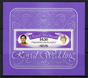 Nevis #141* NH  CV $2.00  Prince Charles & Lady Di wedding Souvenir sheet
