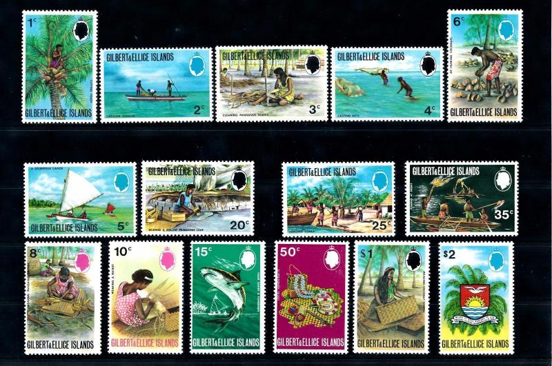 [47964] Gilbert and Ellice Islands 1971 Fishing Handicrafts 15 Values MNH