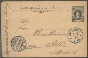Germany 1893 Stettin Local Private Stadtpost Misdroy Cover USED G102410