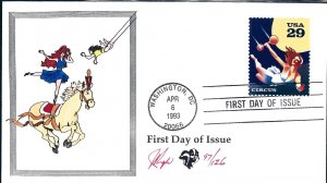 Beautiful Pugh Designed and Painted Circus Aerialist FDC -only 129 created...