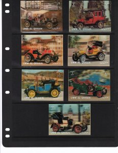 Antique 3 D cars.......mnh..7var  Umm Al Qiwain