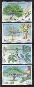 St Lucia Logwood Tree Etc, Specimen Ovpt(Scott #649-52) MNH