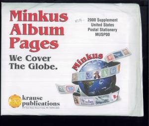 2000 US Postal Stationery Minkus Stamp Album Supplement Pages #MUSP00