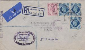 Great Britain 6d and 10d (3) KGVI 1953 Registered, London W. 1 Registered Air...