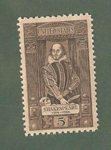 1250 William  Shakespeare US Postage Single Mint/nh FREE SHIPPING