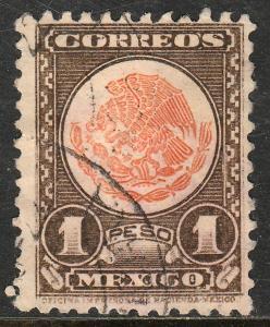MEXICO 850 $1P 1934 Definitive Wmk Gobierno...279 Used (933)