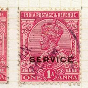 India GV 1912-13 Early Issue Fine Used 1a. Optd Service 189813