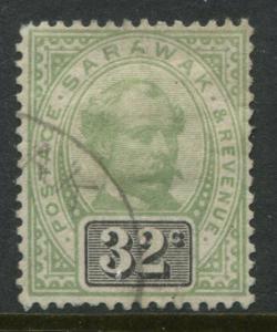 Sarawak QV 1897 32 cents gray green & black CDS used