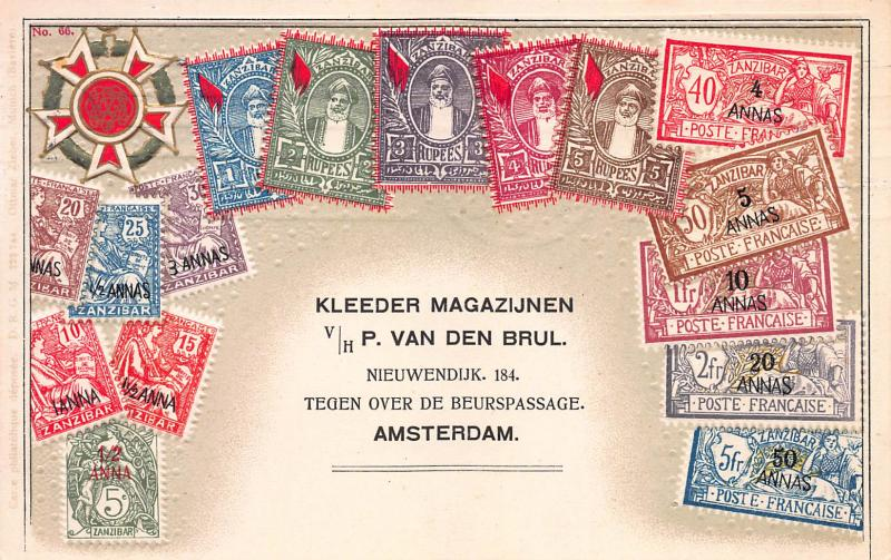 Zanzibar, Stamp Postcard, #66, Published by Ottmar Zieher, Used in Netherlands