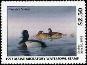MAINE #14 1997 STATE DUCK STAMP GREATER SCAUP by Thomas Kemp