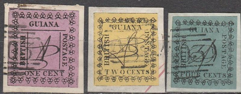 British Guiana #37, 40, 41 F-VF Used Remainders  (A7175)