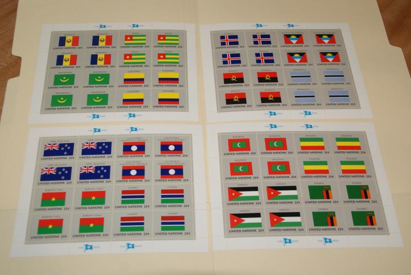 1986 United Nations, UN - NY, Flags series complete sheets of 16, FV $14.08