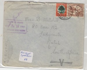 South Africa 1941 Censor Active Cover To Natal Egypt CDS J6060