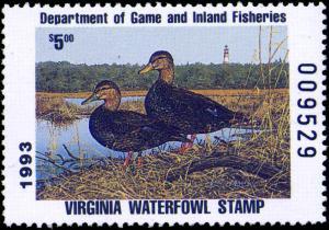 VIRGINIA #6 1993 STATE DUCK BLACK DUCKS by Bruce Miller