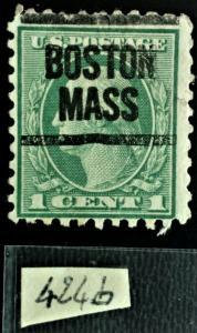 1914 - 424b 1 Ct green G Washington précanceled with fanding 12X10 (VXH)