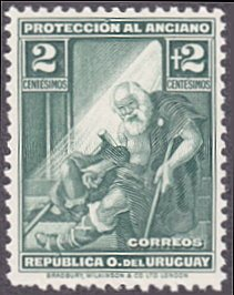 Uruguay # B2 mnh ~ 2¢ + 2¢ Indigent Old Man
