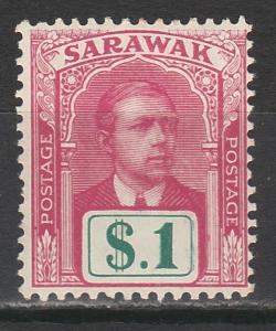 SARAWAK 1918 RAJA $1 NO WMK TOP VALUE