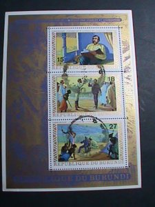 BURUNDI-   COLORFUL FAMOUS PAINTING CTO SHEET-VERY FINE WE SHIP TO WORLD WIDE