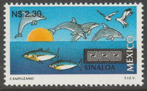 MEXICO 1794, N$2.30 Tourism Sinaloa, dolphins, tuna. Mint, Never Hinged F-VF.